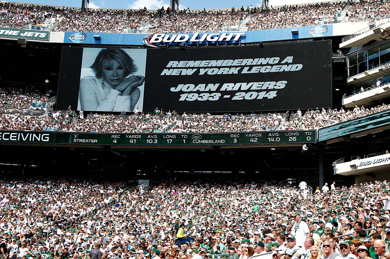 A tribute to the late Joan Rivers is seen on the video board at MetLife Stadium during the third quarter of a game between the New York Jets and the Oakland Raiders.