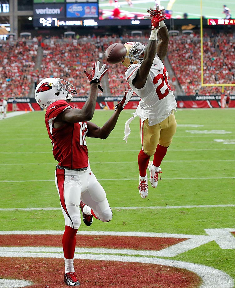 Arizona Cardinals wide receiver John Brown can't make the catch as San Francisco cornerback Kenneth Acker defends.