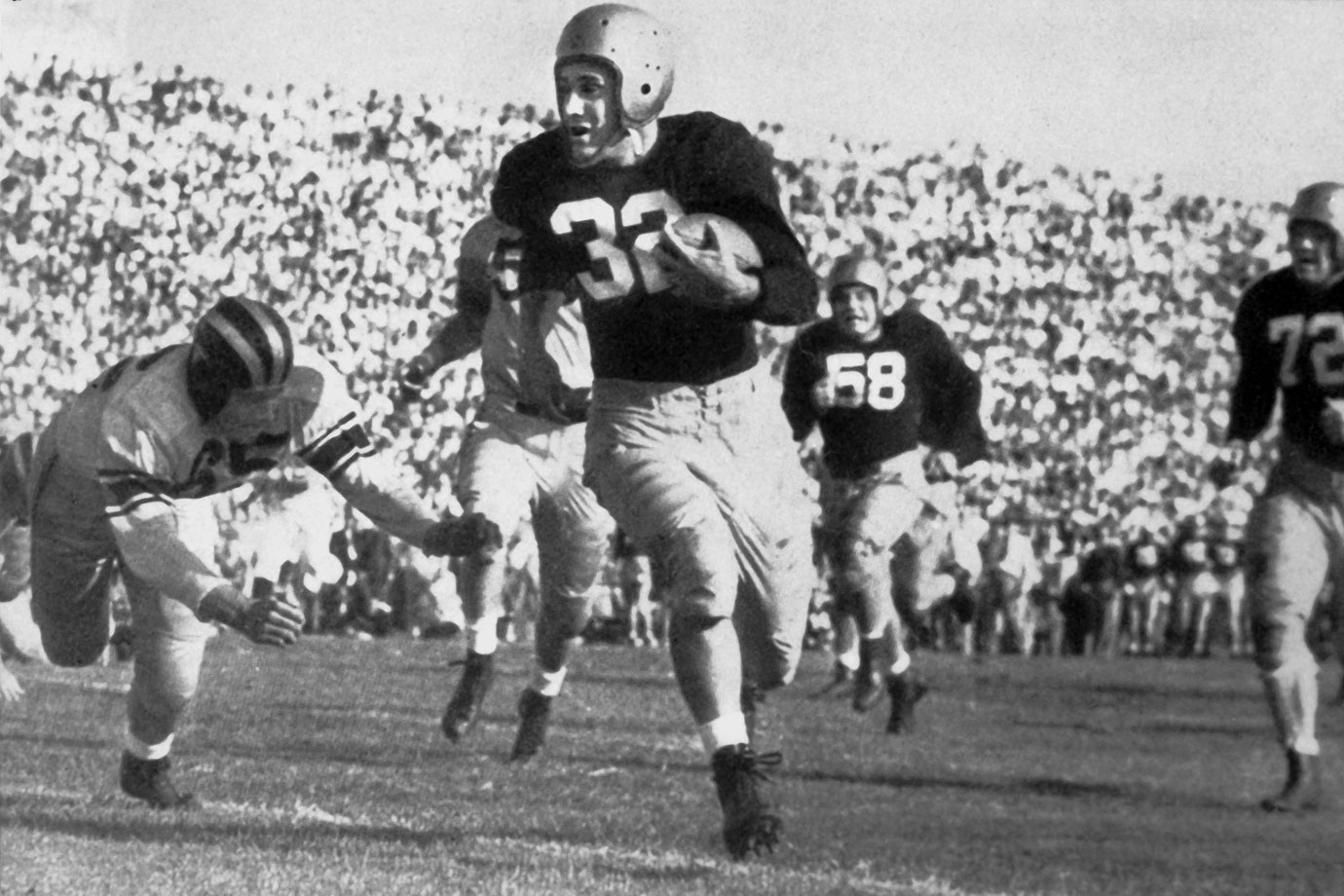 The 1947 Heisman winner led Notre Dame to national titles in each of his three years as a starter. Lujack threw for a touchdown, running for another and intercepting a pass in his first start before leaving Notre Dame for two years to serve in the military. He picked up where he left off in 1946 to win two more championships, never losing a game in those two years. Lujack won the Heisman Trophy as a senior, when he threw for 777 yards and nine touchdowns and rushed for 139 yards and another score. His biggest impact may have been a defensive play when he tackled Army's Doc Blanchard to prevent a touchdown and preserve a scoreless tie.