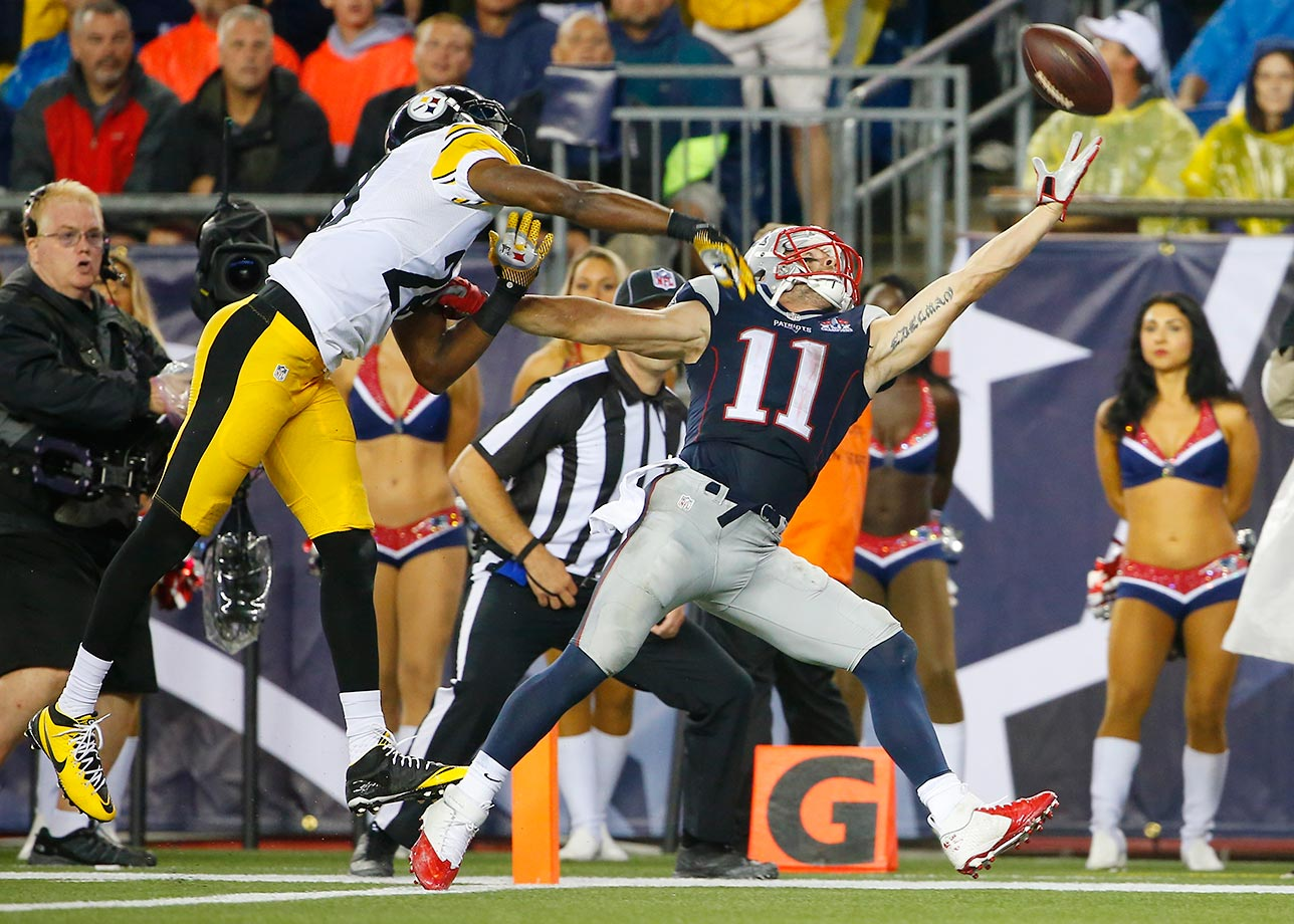 Julian Edelman can't catch a pass as Cortez Allen defends.