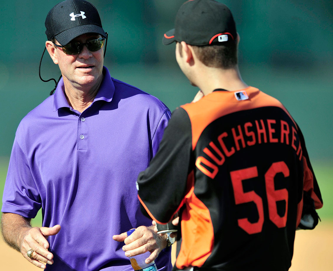 The Orioles welcomed Duchscherer to spring training (and the team) Feb. 17, 2011 with a misspelled jersey that omits the second 'C'. Meeting Hall of Famer Jim Palmer, however, likely more than made up for the spelling error.