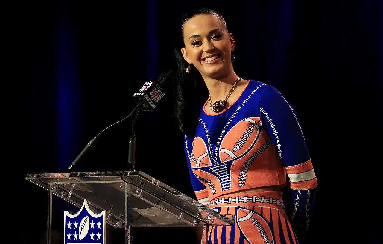 Singer and songwriter Katy Perry attends the Pepsi Super Bowl XLIX Halftime Show Press Conference on Thursday.
