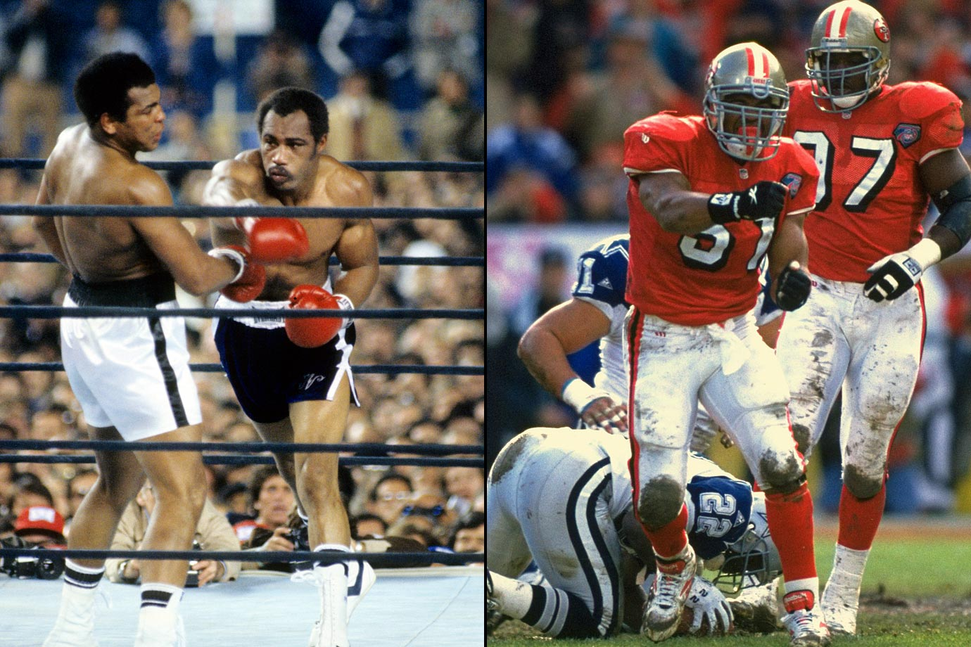 In honor of his father's boxing career, former NFL linebacker Ken Norton Jr. would pose in a boxing stance and punch the goal post after he scored a defensive touchdown.