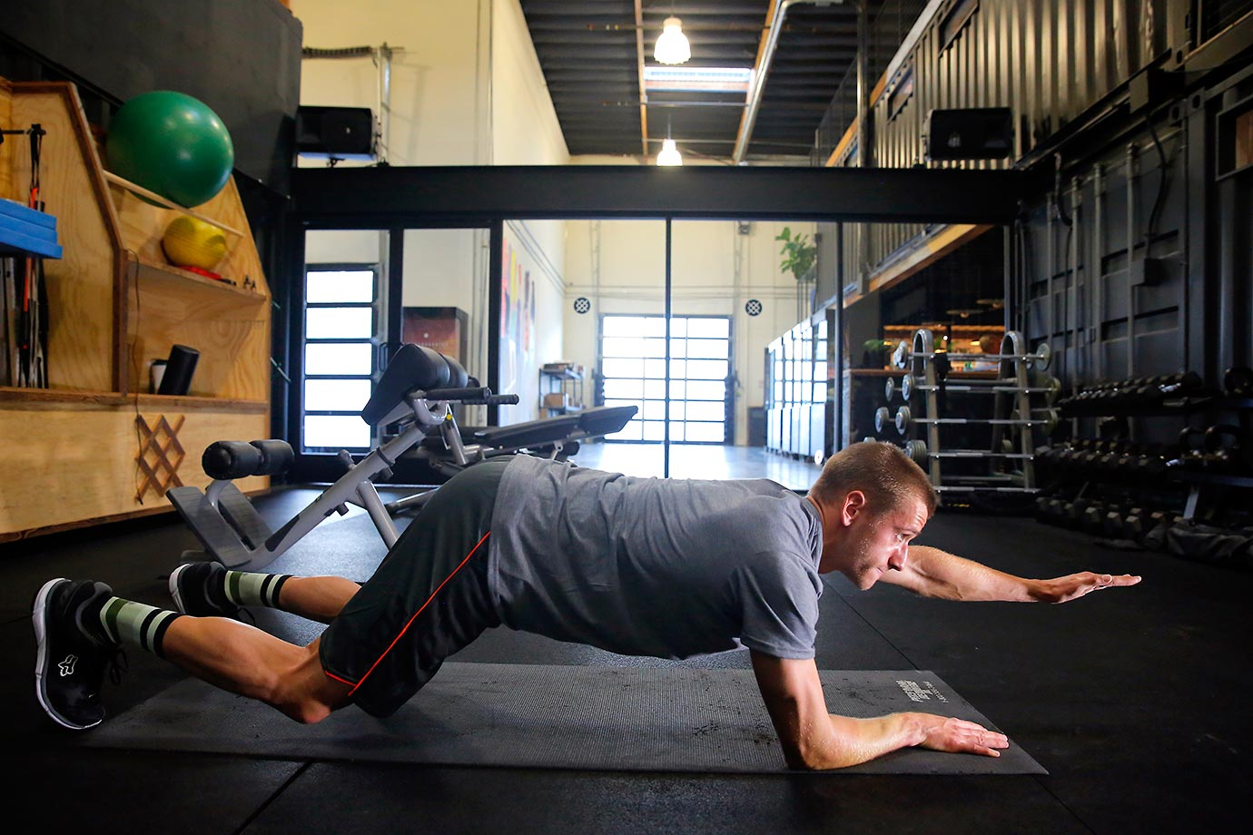 Ken Roczen works on strengthening his core and back muscles before races.