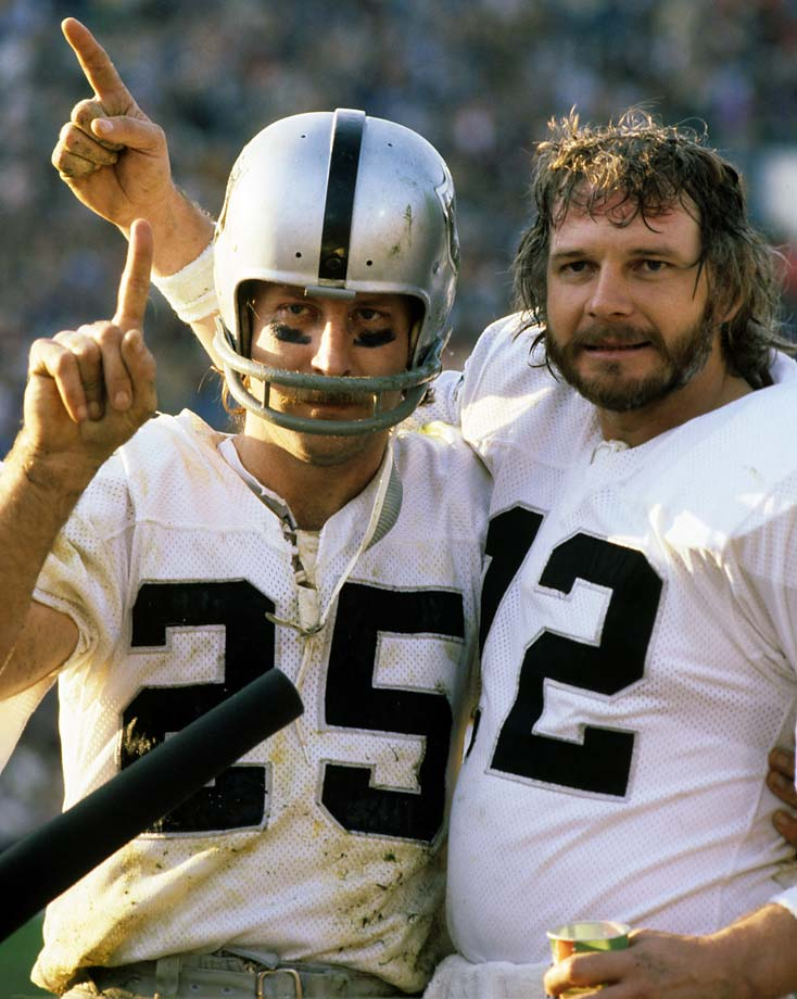 A victorious Kenny Stabler and Fred Biletnikoff after winning Super Bowl XI over the Minnesota Vikings at Rose Bowl Stadium in 1977.