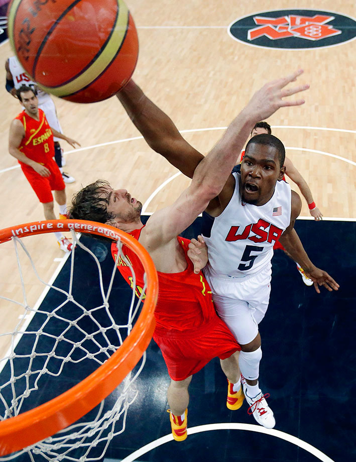 It would be a big mistake to sleep on Durant because he's had three foot surgeries in the past 12 months. At 22, Durant was USAB's leading scorer in London, averaging 19.5 points with blistering 48.5/52.3/88.9 shooting splits. Arguably the most unguardable one-on-one player in the NBA, Durant presents even more challenges internationally thanks to the shorter three-point line and his ability to stretch out defenses by swinging up to play power forward or center. The 2014 MVP and four-time scoring champ is a natural fit between James and Davis, giving USAB a truly fearsome starting frontline. All three players are mobile, credible threats from the rim to the arc, and present major problems for opposing offenses with their length, athleticism and motors. Pencil him in at starting power forward.