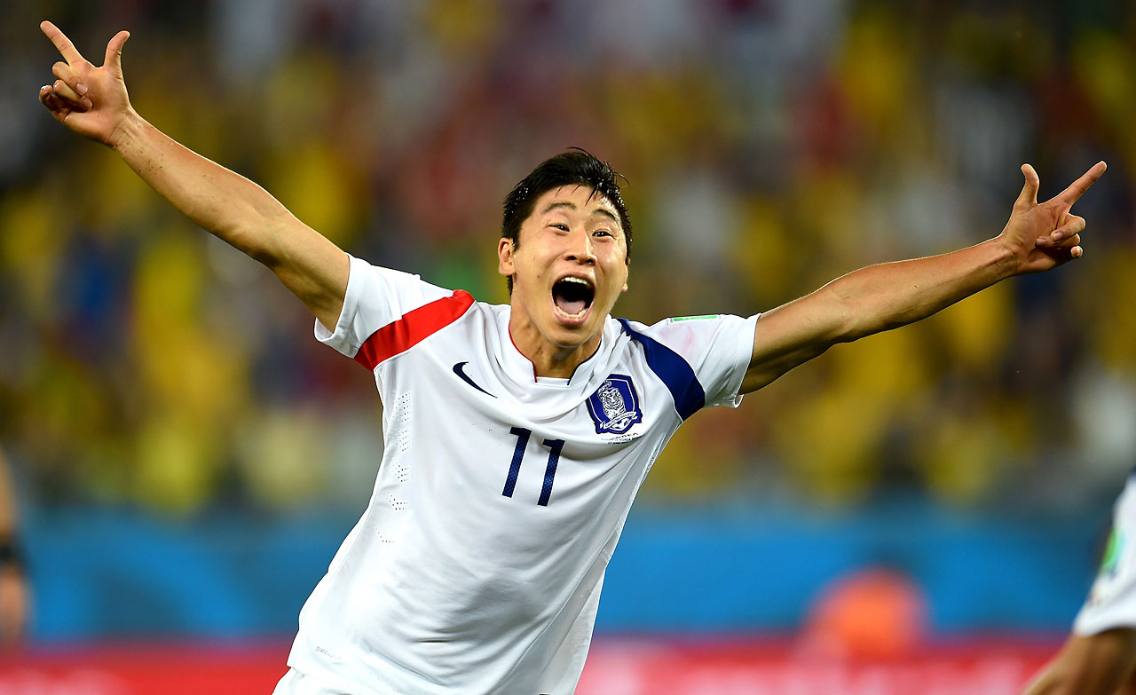 Lee Keun-Ho of South Korea celebrates after scoring the team's first and only goal in a tie with Russia.