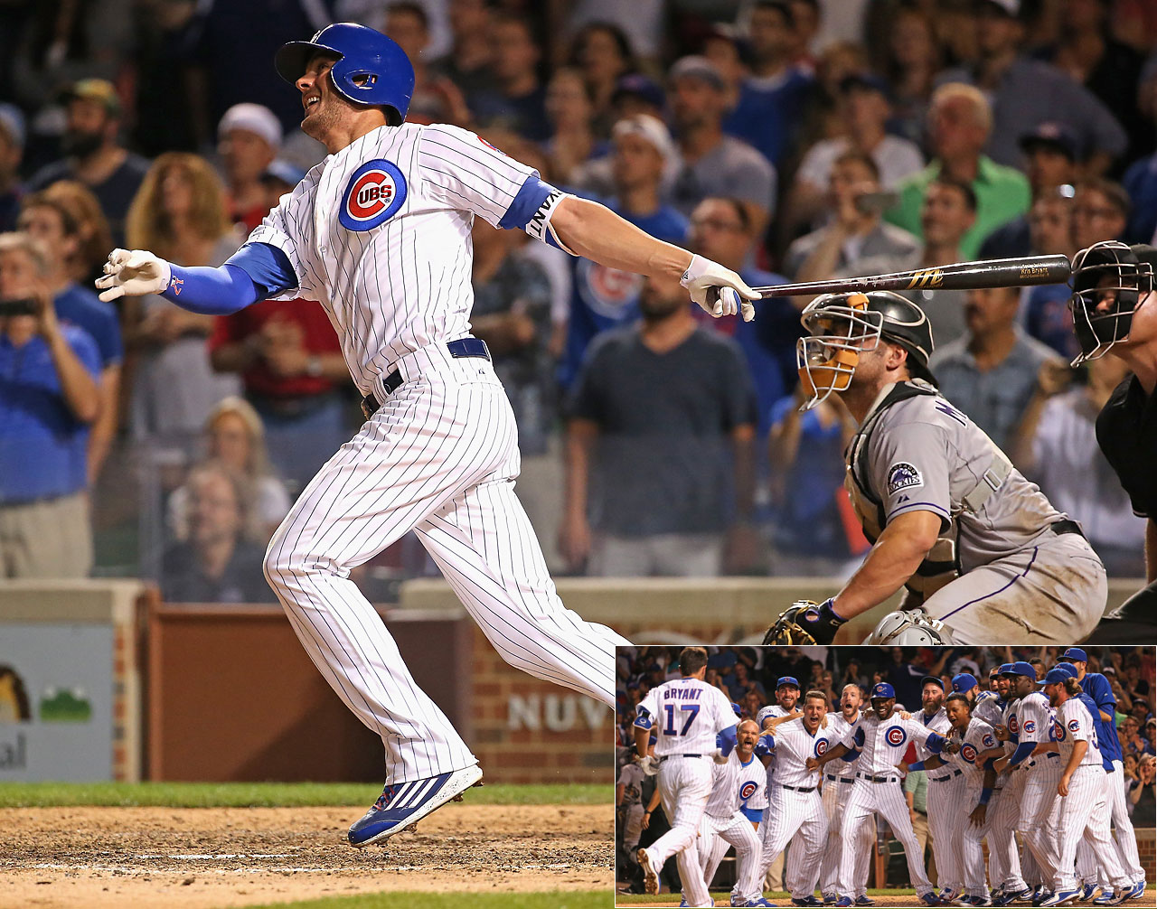 With his team trailing by a run with two out in the ninth inning of a July 27 game against Colorado, Kris Bryant hit this two-run homer to lift the Cubs to a 9-8 victory.