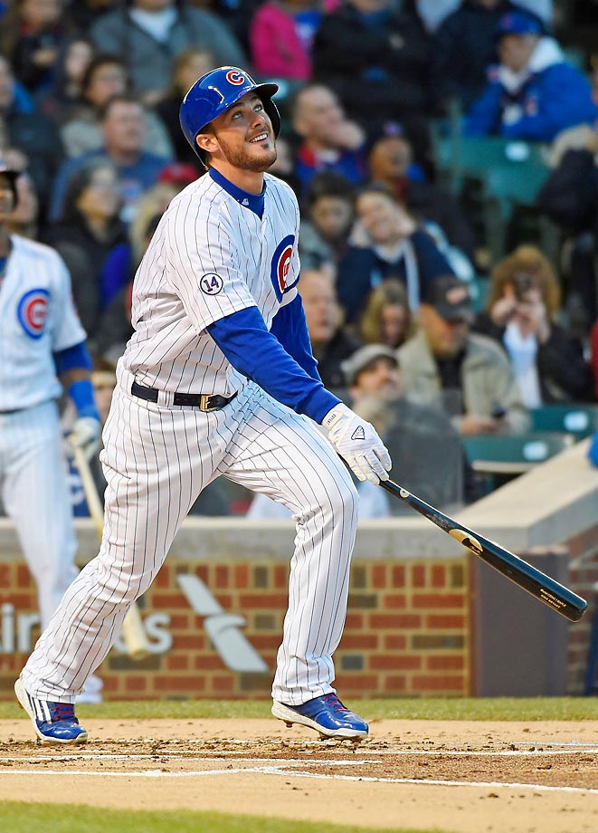When the MLB season began on April 5, it did so without Cubs mega-prospect Kris Bryant. The third baseman was sent to AAA to start the season, ostensibly to work on defense but likely with service-time consideration in mind. Twelve days later, after Bryant's service clock was officially delayed, the slugger debuted in Chicago. And though Bryant struck out three times in his first game, he followed up with two hits and three walks the next day. Several days later, the Cubs called up shortstop prospect Addison Russell, accelerating the team's youth movement.                                      (Text credit: Alex Putterman/SI.com)
