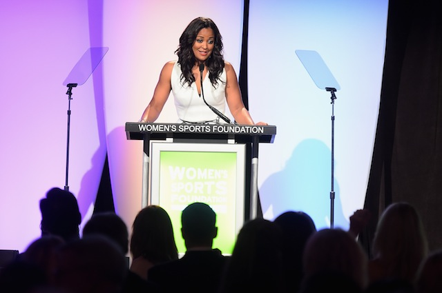 Laila Ali addresses the crowd at the 35th Annual Salute to Women in Sports