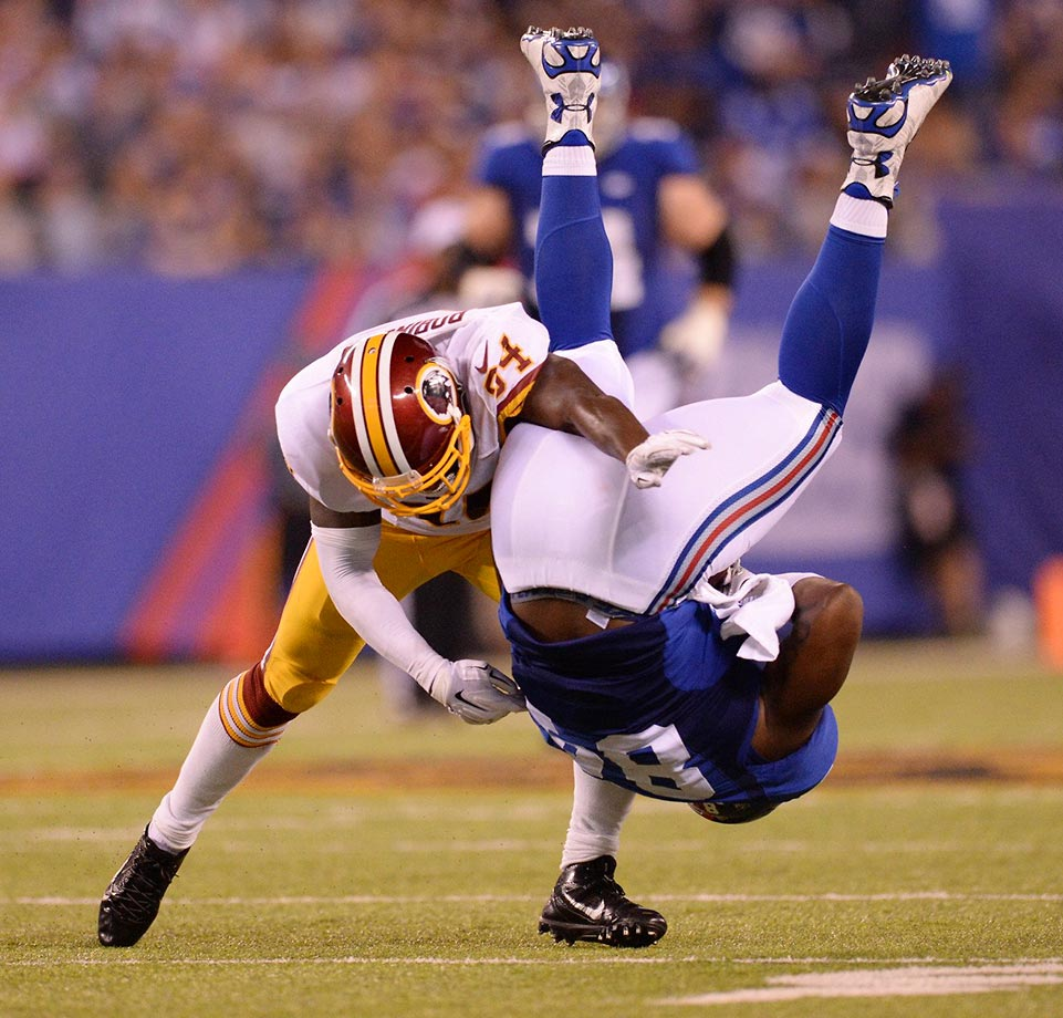 Larry Donnell is upended by Trenton Robinson.