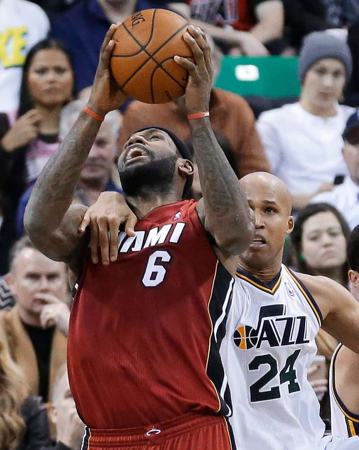 Utah Jazz's Richard Jefferson fouls LeBron James during a Feb. 8, 2014, game in Salt Lake City.