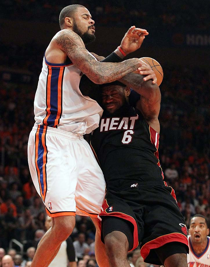 Tyson Chandler of the New York Knicks commits a flagrant foul against LeBron James during an April 15, 2012, game  in New York City.