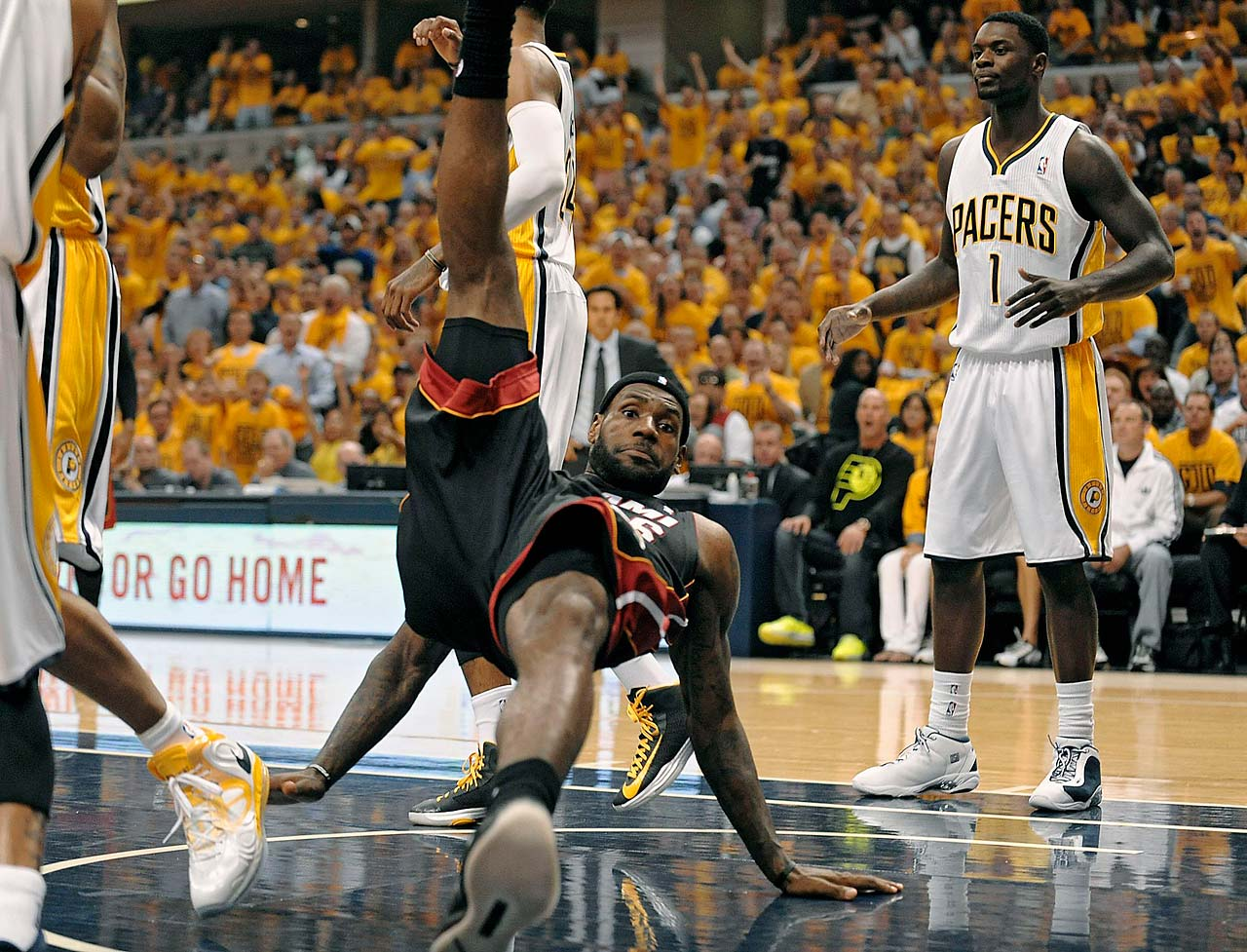 LeBron James is fouled hard during Game 4 of the 2013 Eastern Conference Finals on May 28 in Indianapolis.