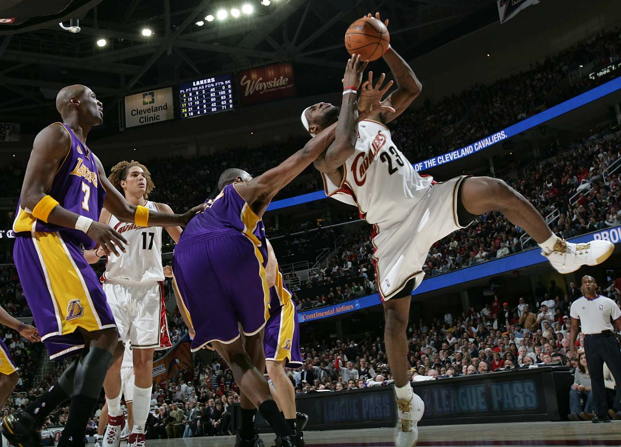 LeBron James is fouled by Andrew Bynum of the Lakers during a Dec. 20, 2007, game in Cleveland.