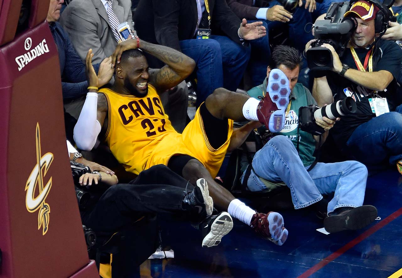 Athletes Colliding With Cameramen: LeBron James ended up getting stitches in his head after falling into a cameraman during Game 4 of the 2015 NBA Finals.