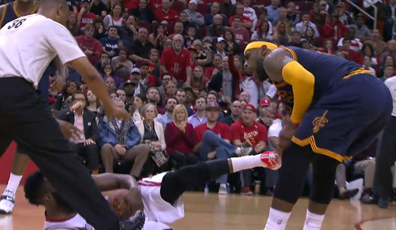 James Harden drew a one-game suspension for kicking LeBron James during a March 1, 2015, game in Houston.