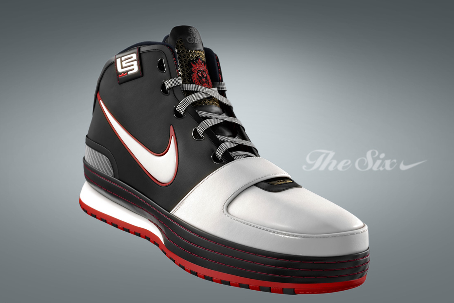 The ankle strap is gone. There is no Foamposite. The Zoom LeBron VI, designed by Ken Link, the man who handled II-VI, went classic. The leather upper—still with a strap-like look across the midfoot—offers clean lines, while the fun happens on the collar, where graffiti art spells out some of LeBron's favorite mantras. The full-length Zoom Air and double-stack cushioning make their final appearance in the VI.