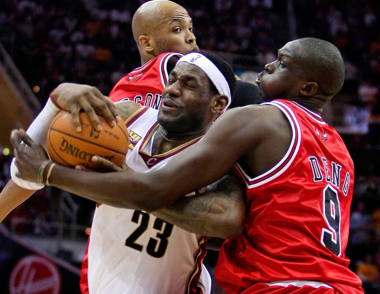 LeBron James is fouled by Chicago Bulls' Luol Deng in Game 5 of a first-round playoff series on April 27, 2010, in Cleveland.