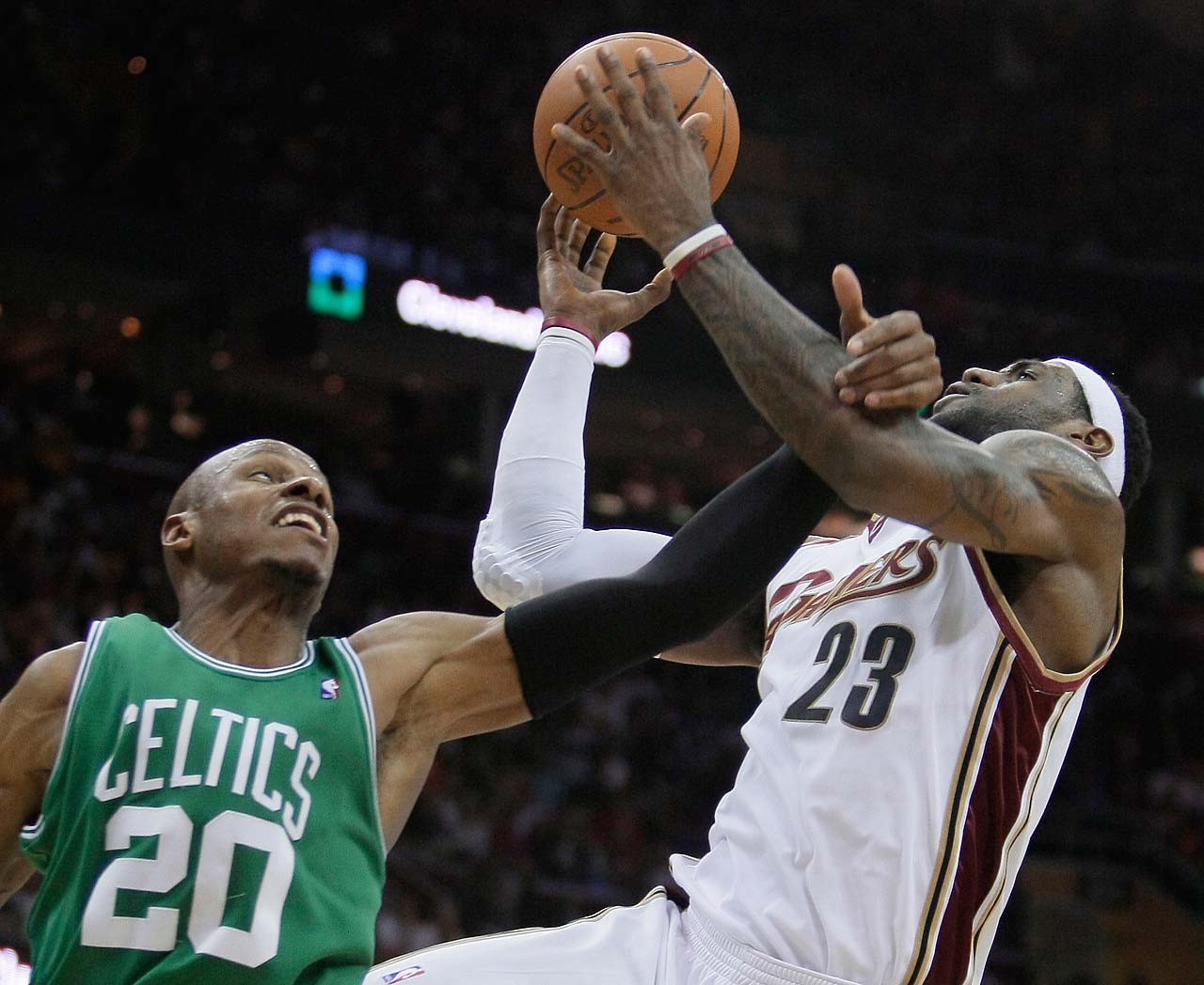 Boston Celtics' Ray Allen fouls LeBron James in Game 1 of a second-round playoff series on May 1, 2010, in Cleveland.