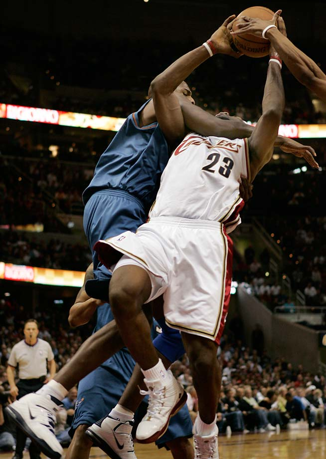 Washington Wizards' Brendan Haywood collars LeBron James during Game 2 of an Eastern Conference first-round playoff matchup in Cleveland on April 25, 2006.
