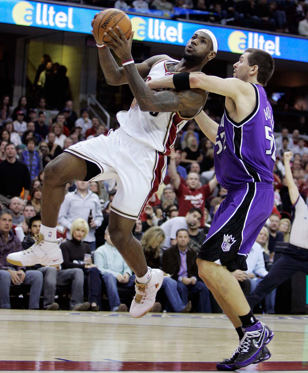 Sacramento Kings Brad Miller fouls LeBron James during a Jan. 4, 2008, game in Cleveland.