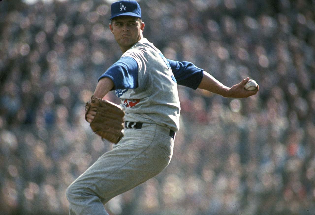 Don Drysdale pitching against the Minnesota Twins in Game 1 of the World Series.