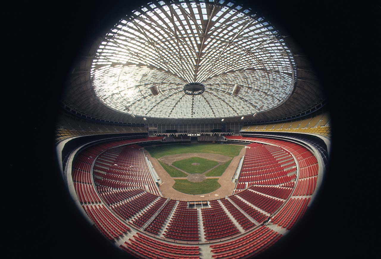 Fisheye view of the empty Astrodome, which opened in 1965.