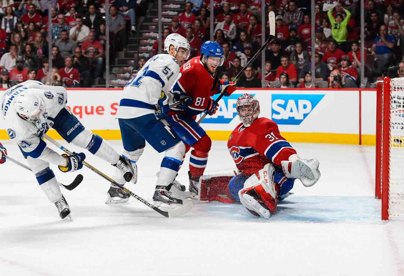 Held to just three assists through the first eight games of the postseason, Steven Stamkos breaks through against Carey Price and the Canadiens in Game 2 of the Eastern semifinals. He adds two helpers in the 6-2 win and goes on to post six goals and 11 points in the Lightning's next 11 games.