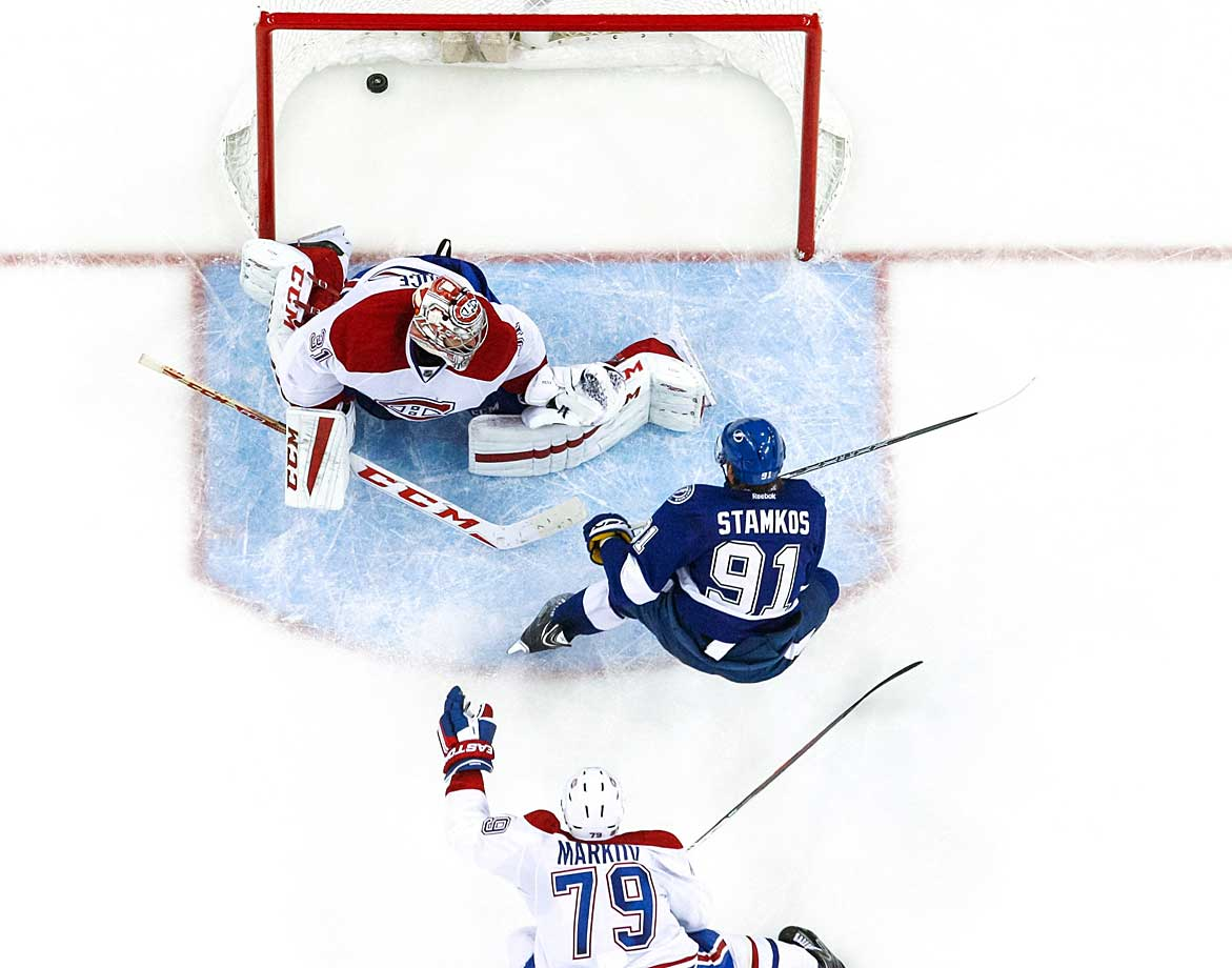 The Lightning made a pretty big revenge statement three games into the season by ringing up seven goals against the Canadiens. The win was even more impressive when viewed in the context of Carey Price's MVP-caliber season for Montreal. The Vezina candidate was chased after allowing four goals in two periods, including three by Steven Stamkos.