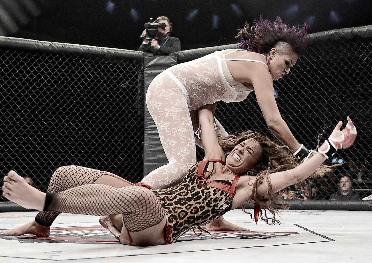Jessie Santos (top) and Allie Parks during the Lingerie Fighting Championships.