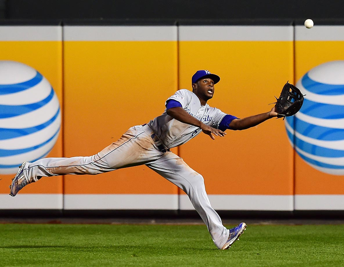 Lorenzo Cain of the Kansas City Royals catches a ball hit by J.J. Hardy of the Baltimore Orioles during Game 2 of the ALCS at Oriole Park. The Royals won to lead the series 2-0.