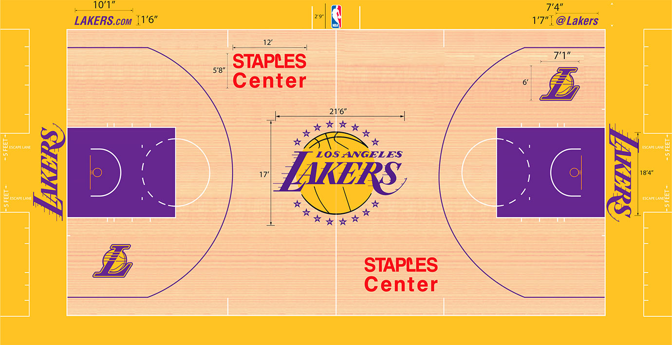 "The Lakers have embraced a unique color scheme, using a light stain to show off a yellow (or is it gold?) and purple—also known as ""Forum Blue""—key and purple three-point line. A full Lakers logo at the center remains traditional."