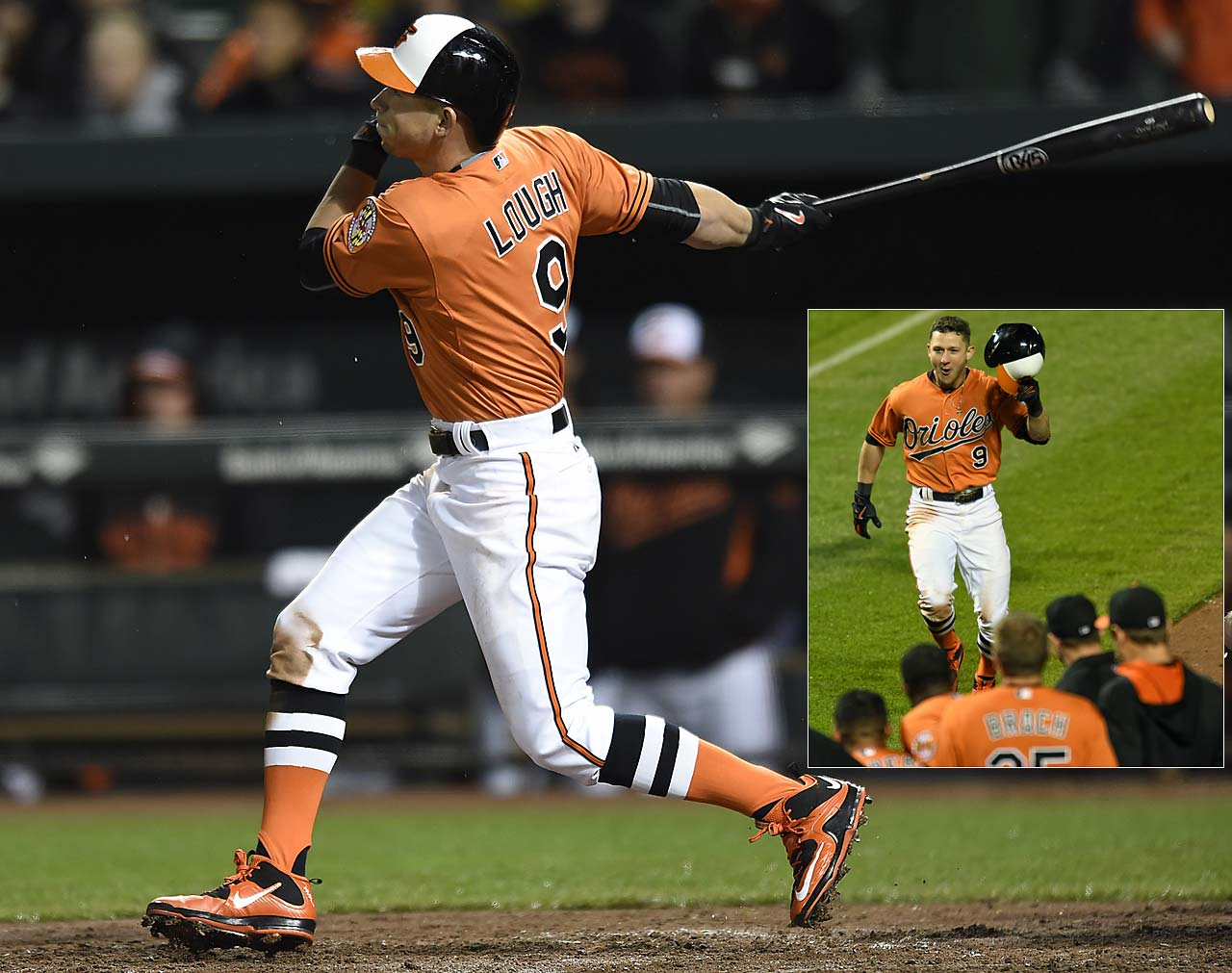David Lough of the Baltimore Orioles hit a 10th inning walk-off homer against Boston on April 25 that gave the Orioles a 5-4 victory.