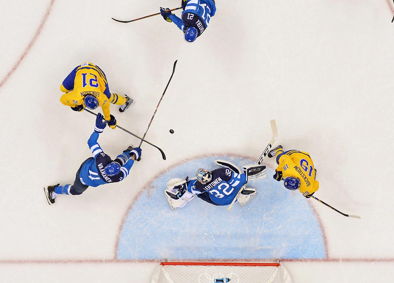 The Finns are usually good at keeping leads by clogging the middle of the ice, forcing teams to the outside of the wider ice surface used in international play, but they were unable Friday to stop Sweden in a pair of pivotal moments. (AP)
