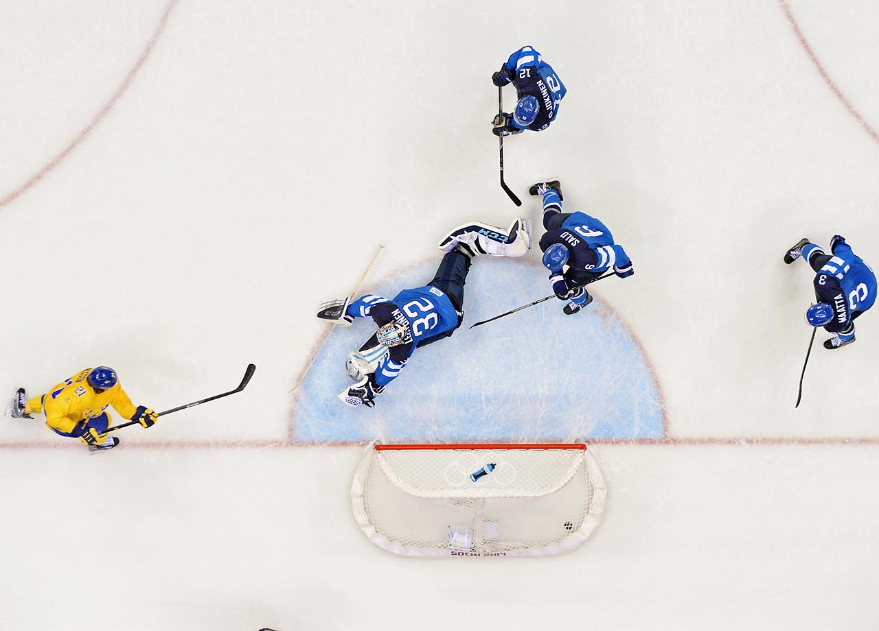 Loui Eriksson (21) scored once for Sweden, which will play Canada for the gold medal.