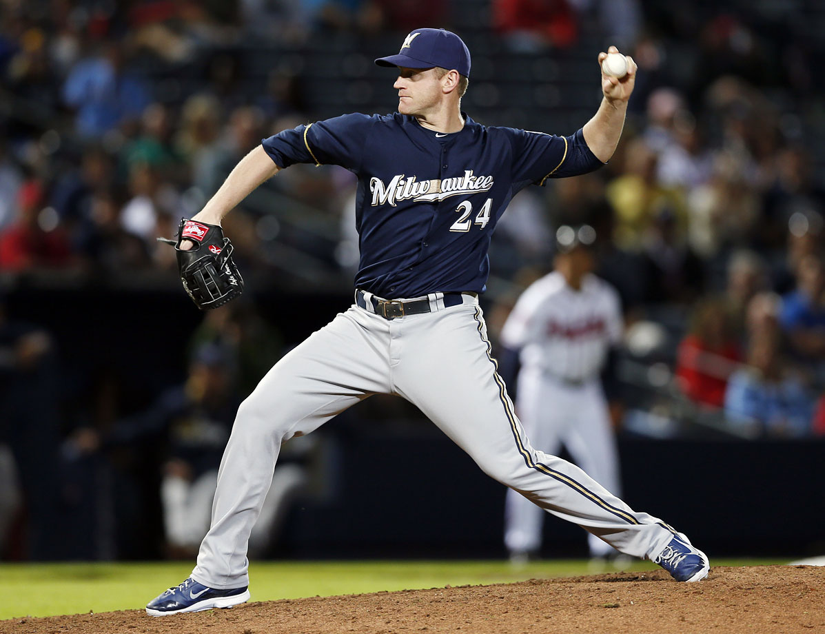 A career first baseman, 37-year-old Lyle Overbay pitched for the first time in his 14-year major league career in a 9-3 loss to the Atlanta Braves. Overbay volunteered for the duty while the Brewers were suffering through a five-run eight inning at the hands of Atlanta. He induced an inning-ending pop fly.