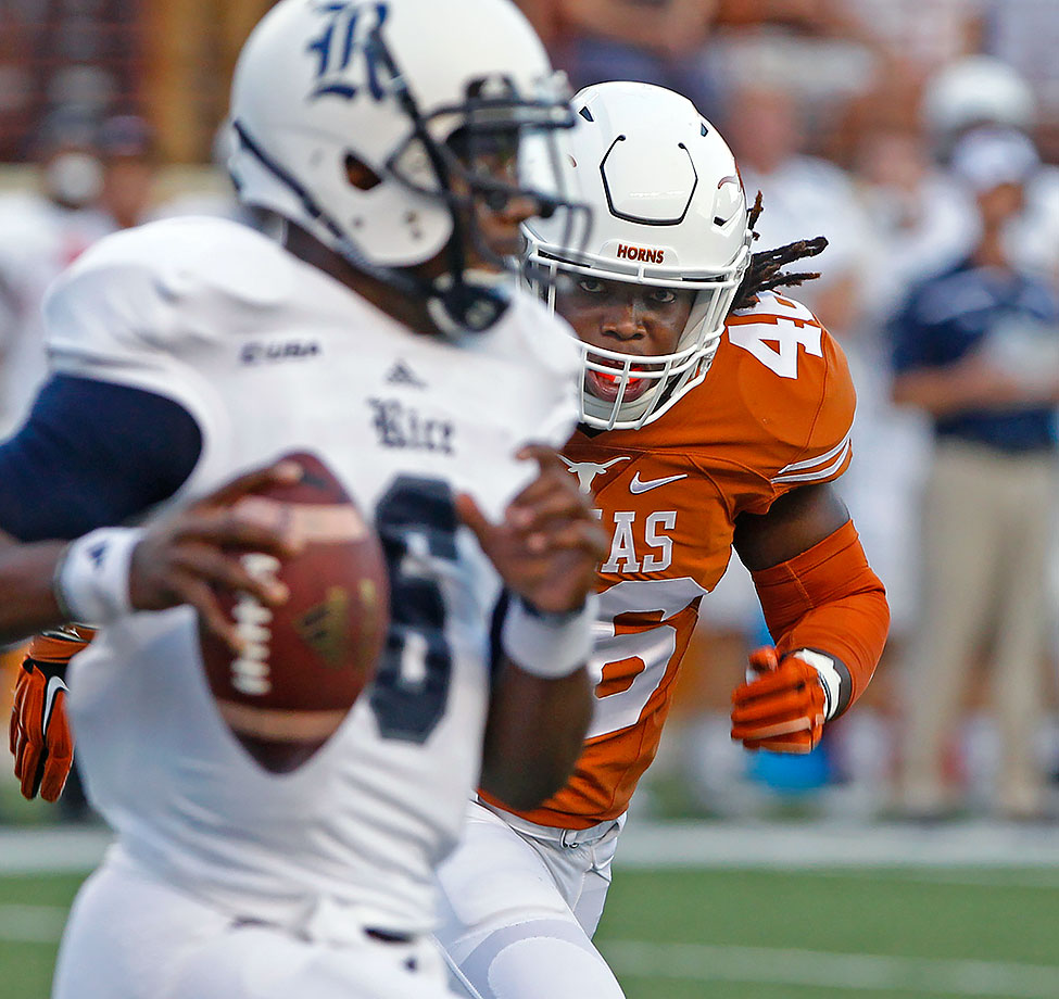 In the middle of a depressing year for Texas fans, Jefferson was one of the few bright spots. The linebacker was widely named a freshman All-America after his 2015 performance in which he started nine games and was second on the team with 61 tackles. He'll anchor the Longhorns' defense in '16 as they hope to bounce back from a disappointing 5–7 record.