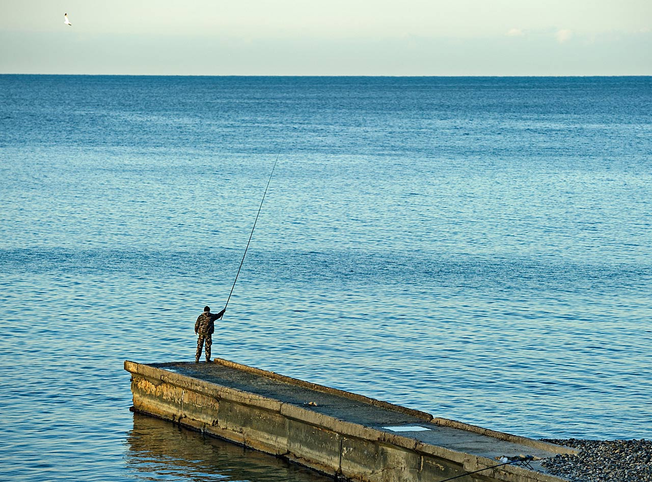 While most concerned themselves with the games at hand, a man chose instead to do a little fishing.