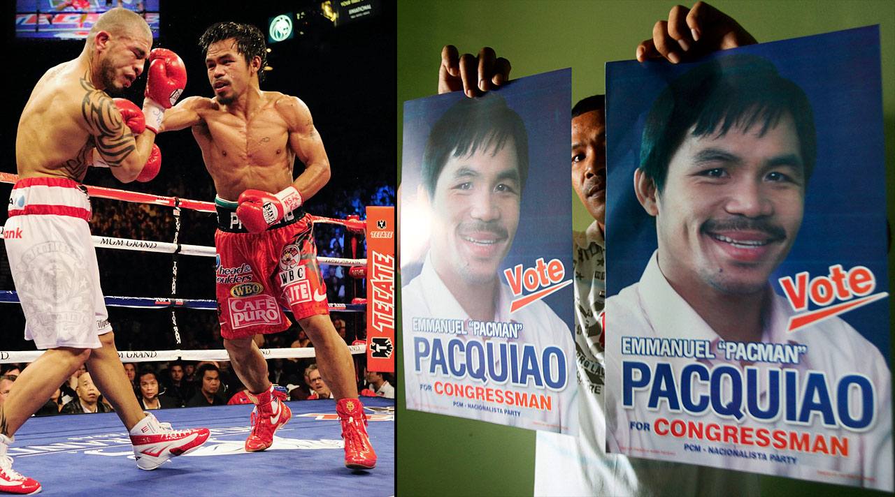In Nov. 2009, the hard-hitting Filipino became the first boxer in history to earn world championships in seven different weight classes. Six months later, Pacquiao upset heavy favorite Roy Chiongbian in the race to represent the southern province of Sarangani in the Philippine Congress.
