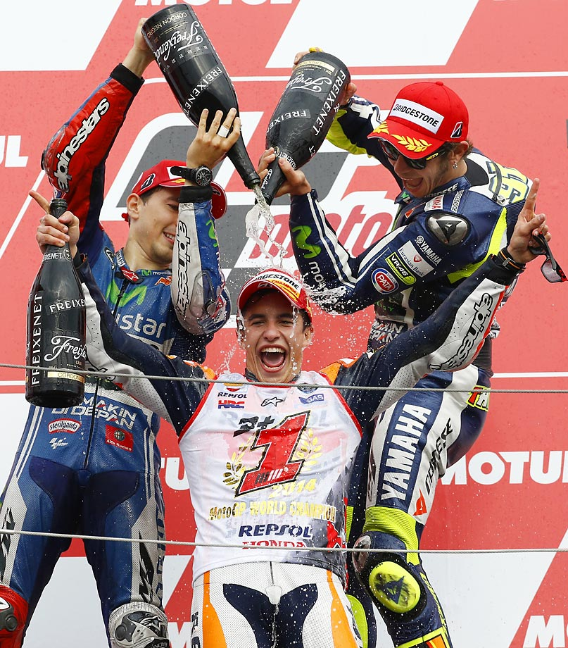 Spain's Marc Marquez is sprayed with champagne after the Japanese Motorcycle Grand Prix.