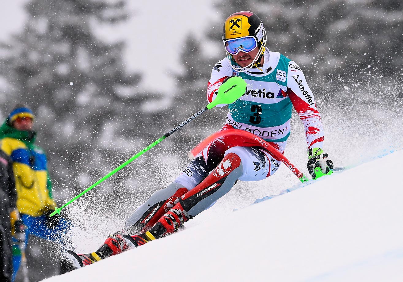 Marcel Hirscher of Austria competes during the Audi FIS Alpine Ski World Cup Men's Slalom in Adelboden, Switzerland.