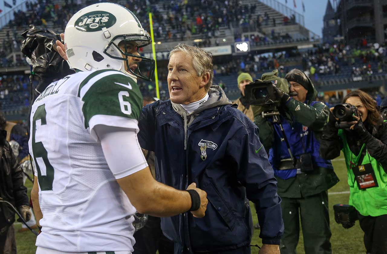 Mark Sanchez might just as well want to forget his 22nd birthday. In his first NFL game with his former college coach on the opposite sideline, Sanchez completed only 9 of 22 passes for 124 yards with one interception, one lost fumble and no TDs as the Jets lost 28-7 to Pete Carroll's Seahawks.