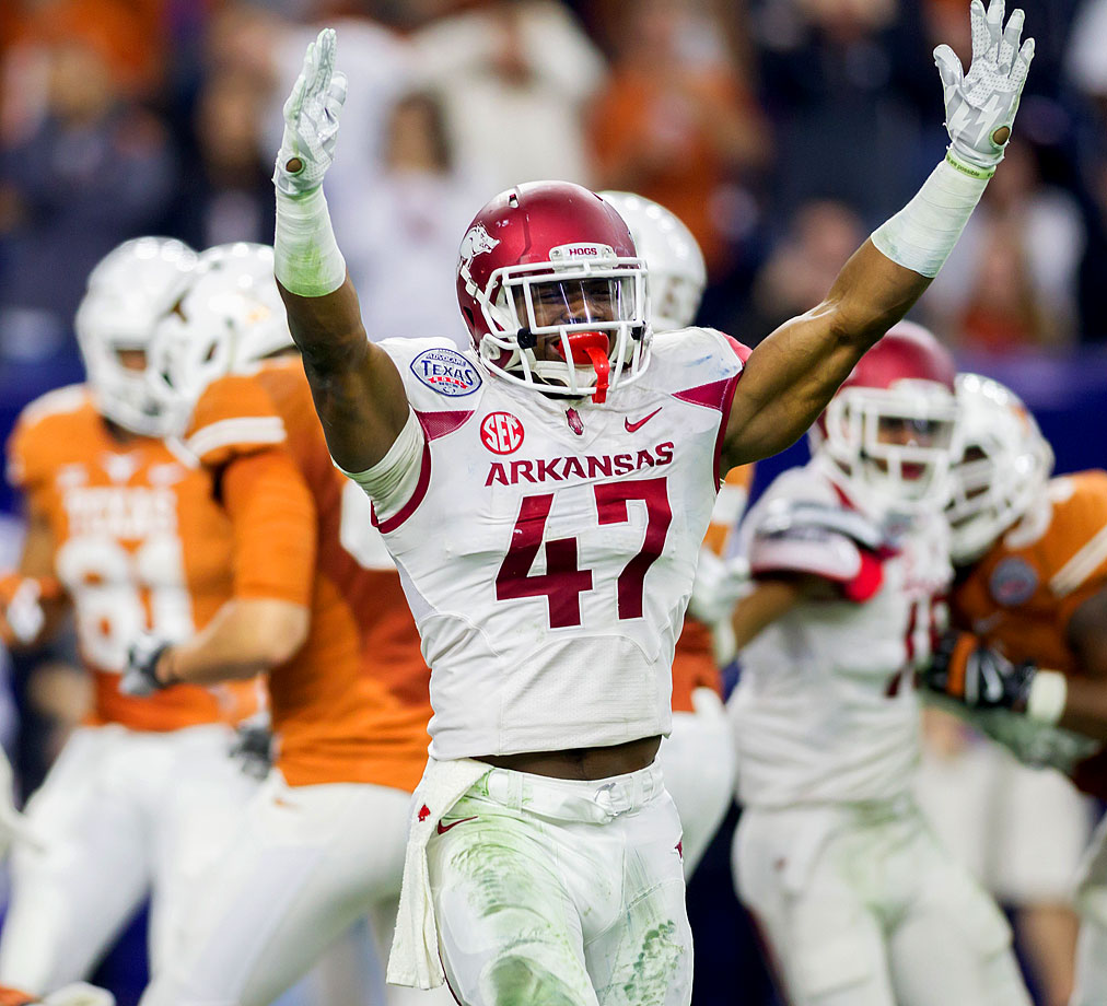 The linebacker made two tackles for loss as the Razorbacks suffocated Texas into 59 yards of offense.