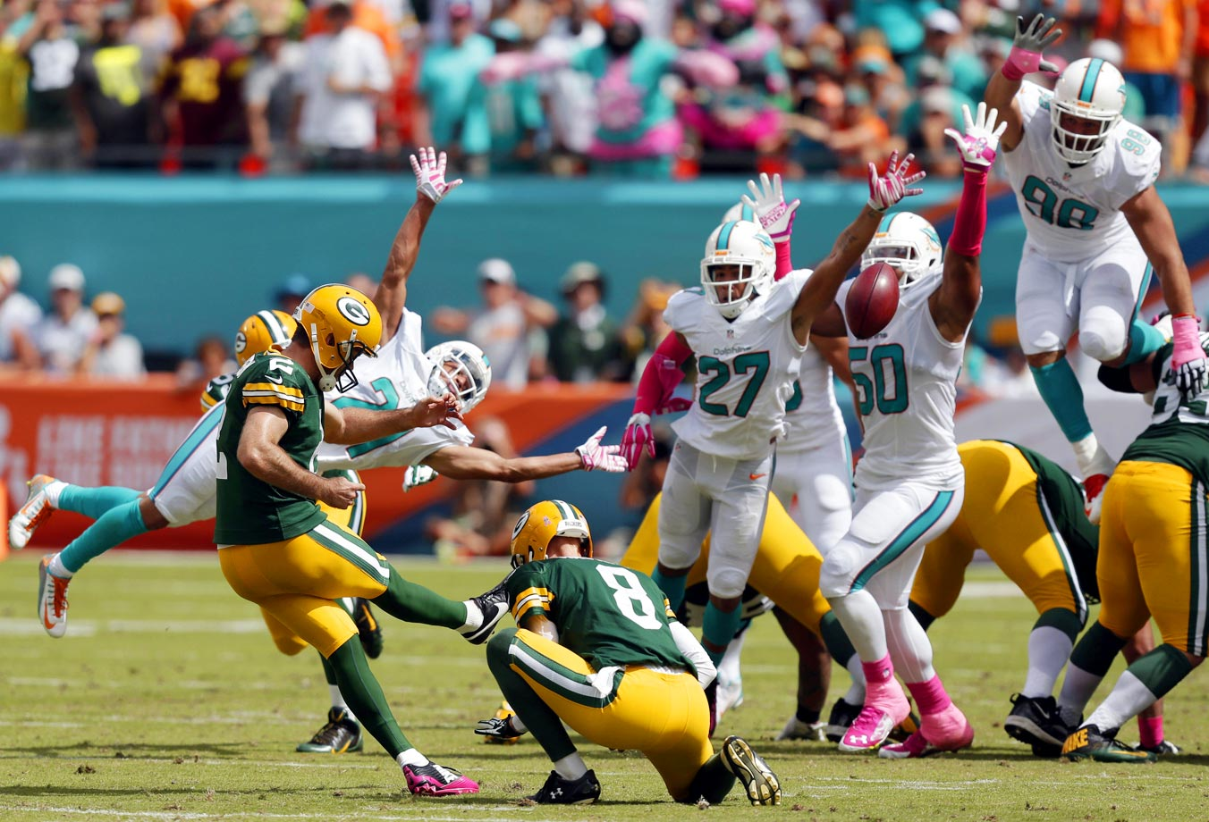 Green Bay Packers kicker Mason Crosby boots a field goal during the first half against the Miami Dolphins.