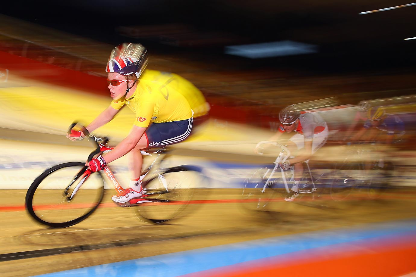 Matt Gibson of Great Britain during the Memorial Noel Fore race at the Ghent 6 day race at 'T Kuipke in Belgium.