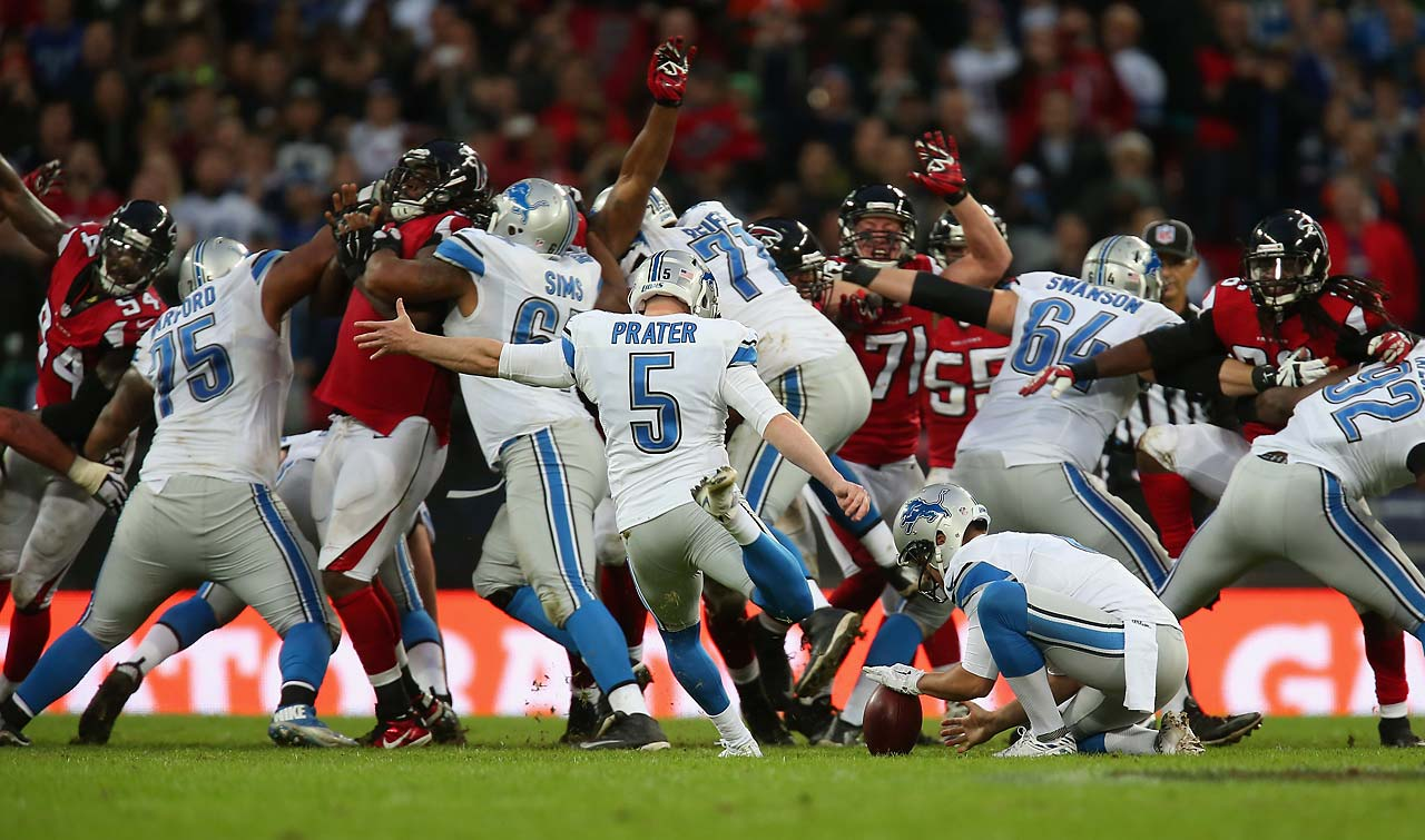 Matt Prater kicks a game-winning, 48-yard field goal against the Atlanta Falcons.
