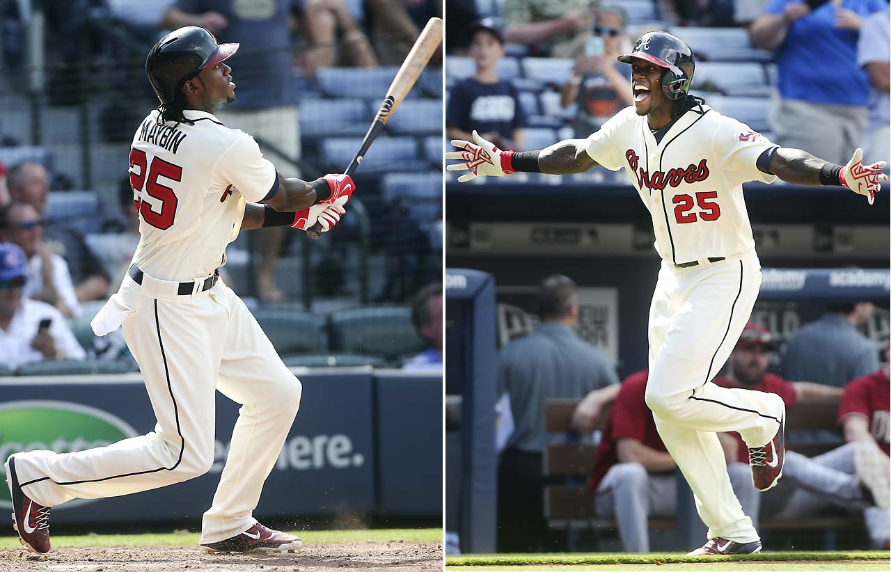 Cameron Maybin hit a solo home run in the 10th inning on Aug. 16 to give the Atlanta Braves a 2-1 walk-off win over Arizona.