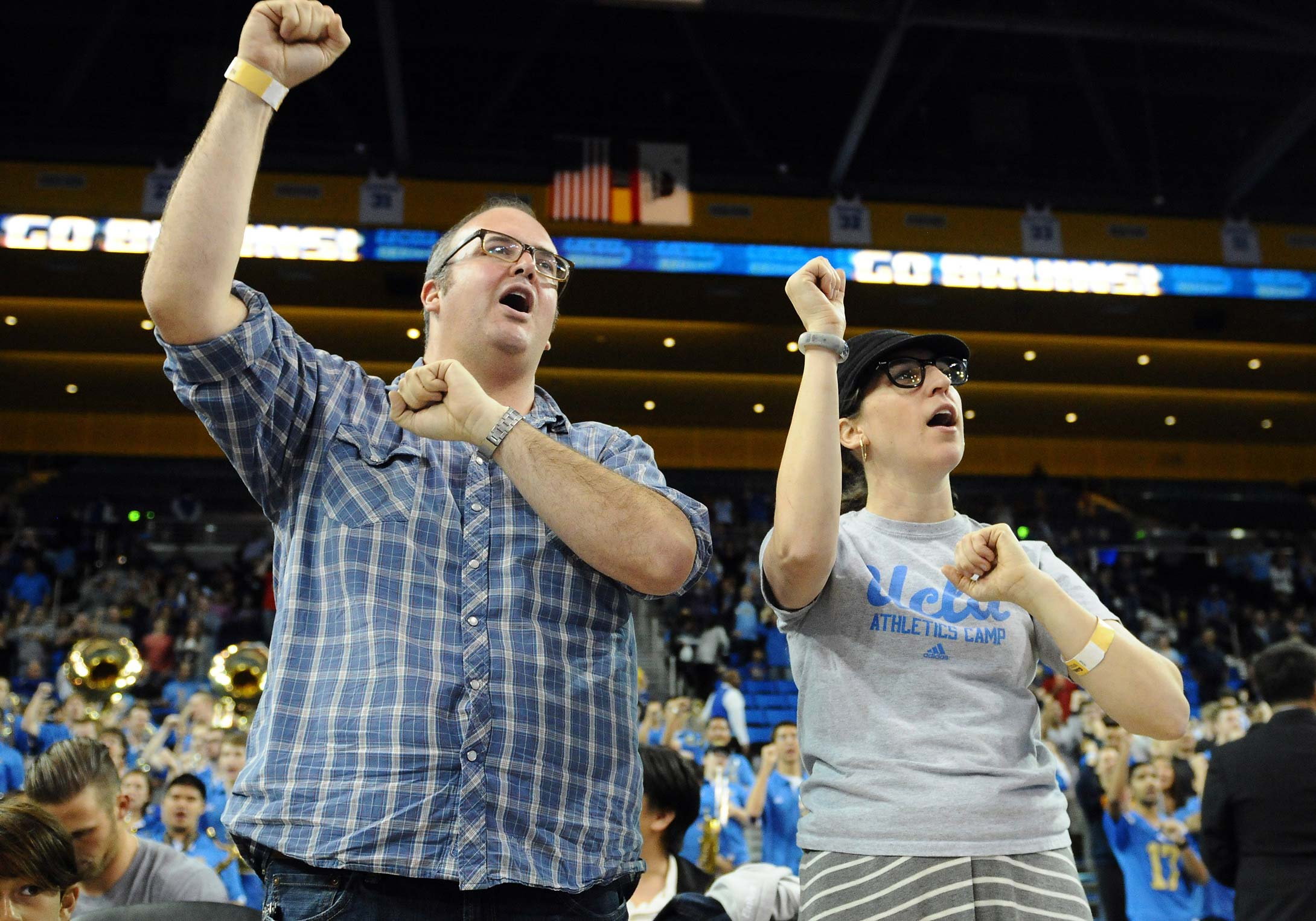 Mayim Bialik of the hit tv show The Big Bang Theory and her ex-husband Michael Stone during a 2014 game between Cal and UCLA at Pauley Pavilion in Los Angeles.