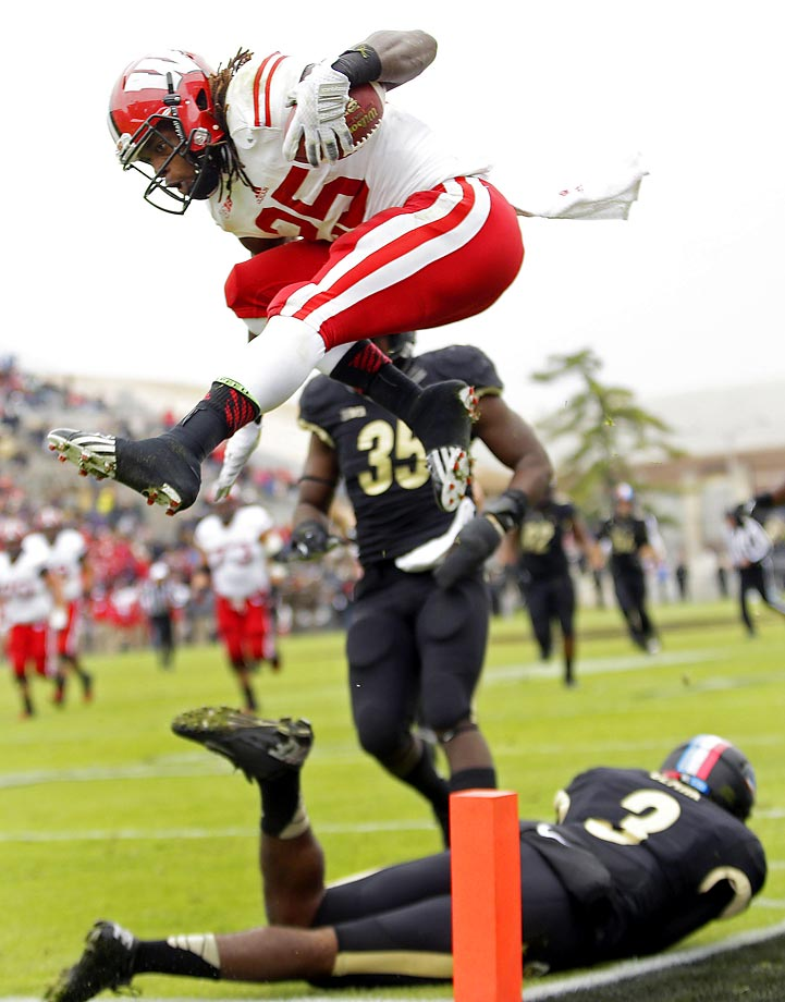 Wisconsin running back Melvin Gordon leaps into the end zone to score a touchdown during the second quarter against Purdue. Gordon finished with 205 rushing yards in the 34-16 win.